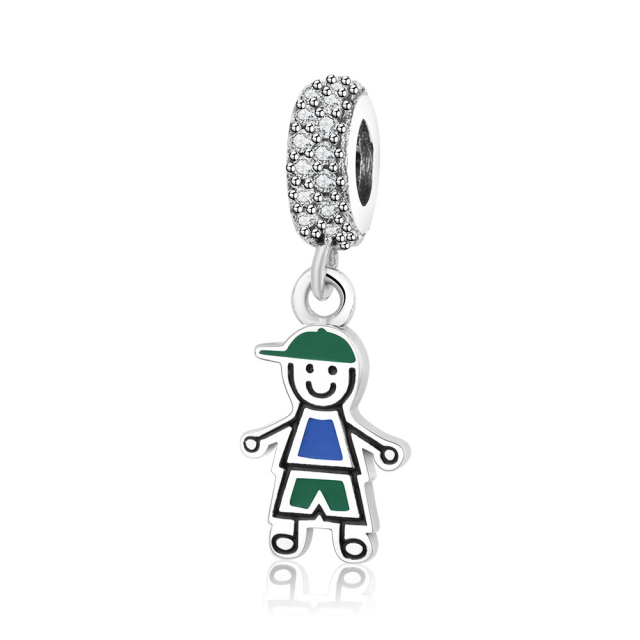 solid gold charm boy little baby pendant