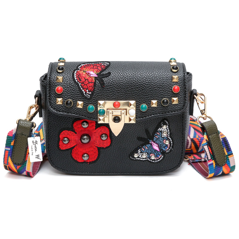 Designer Women Messenger Bag Vintage Printing Butterfly Women Crossbdoy Bags Riv