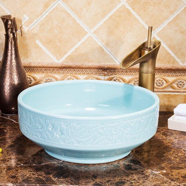 Hellblau Europa Stil Zahler Top Porzellan Waschbecken Badezimmer