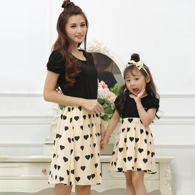 Family Set Hearts Dress Mother Daughter Dresses Family Clothing Mom and Daughter Dress Clothes Family Matching Outfits ML06