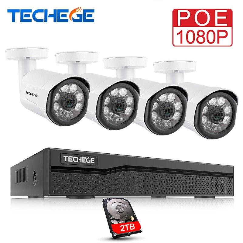 Techege H.265 1080 p CCTV Système 4CH NVR Kit 2.0MP Sécurité Caméra HD IP Caméra Extérieure Imperméable Vidéo Surveillance Système