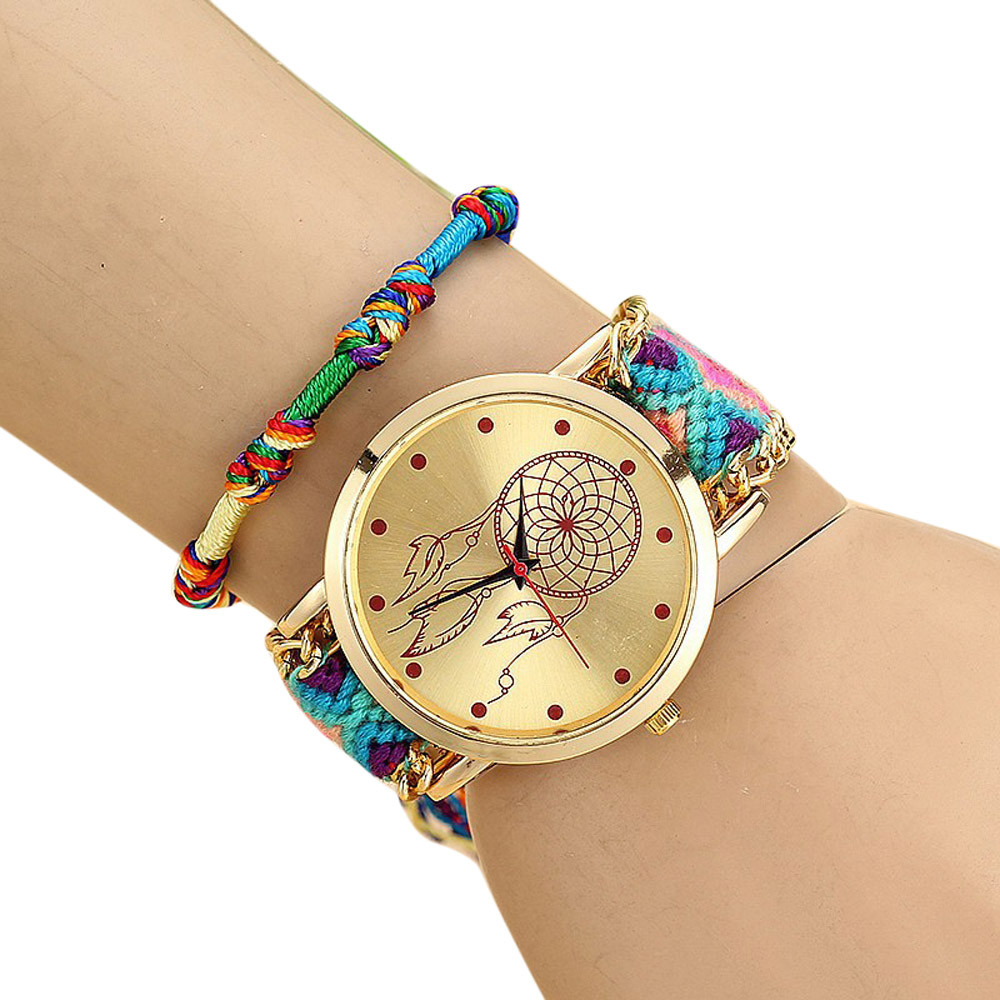 Brand Handmade Braided Dreamcatcher Friendship Bracelet Watch Ladies Rope Watch Quarzt Watches dropshipping montre femme