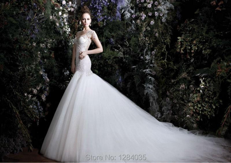 Sexy Luxury Mermaid Wedding Dress Big Volume Open Back