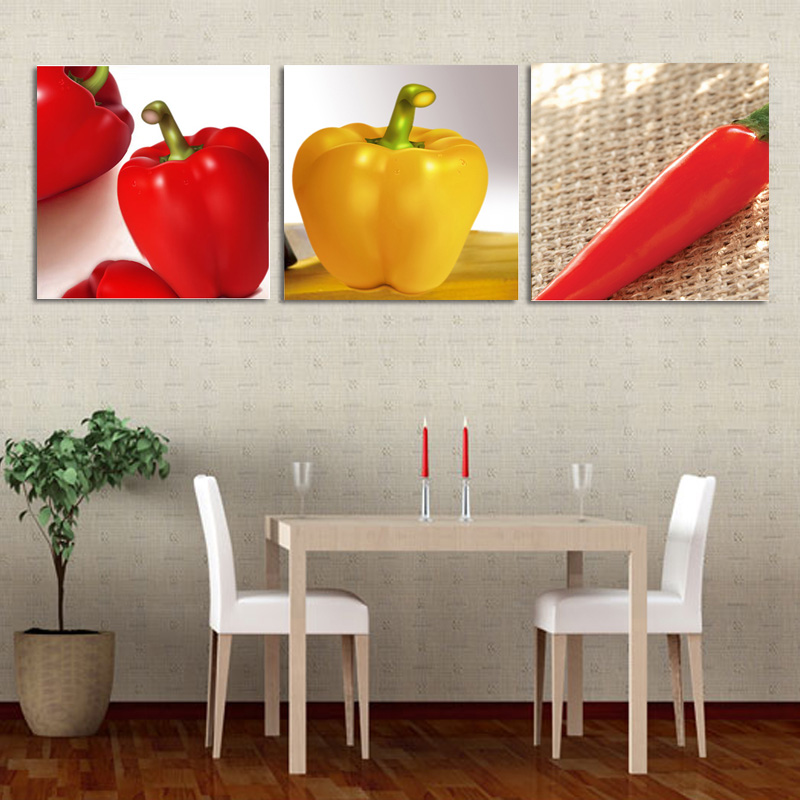 3 Piece Wall Painting Canvas Print Yellow Red Pepper Art Picture Hot Chili Painting For Dinning Room Kitchen Wall Decor No Frame