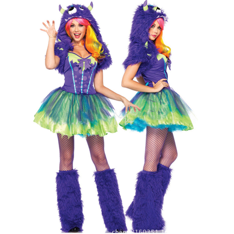 2018 New high quality Adult Womens Sexy Halloween Party Plush Monster Costumes Outfit Fancy Cosplay Animal Blue Dresses With Hat