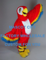 Long Hair Red Macaw Mascot Costume Plush Parrot Birds Mascot Mascota Outfit Suit Fancy Dress Cosply Carnival Costume SW560