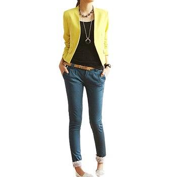 3385263cf04 2017 одежда высшего качества Женская Корея Стиль карамельный цвет сплошной  тонкий костюм Блейзер Куртка розничная оптовая продажа 5AXG 7EY9 7N8L