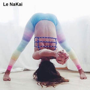 af5b2f7f05637 3D Rainbow Printed Yoga Leggings Fitness Elastic Gym Tights Quick dry  Running Jogger