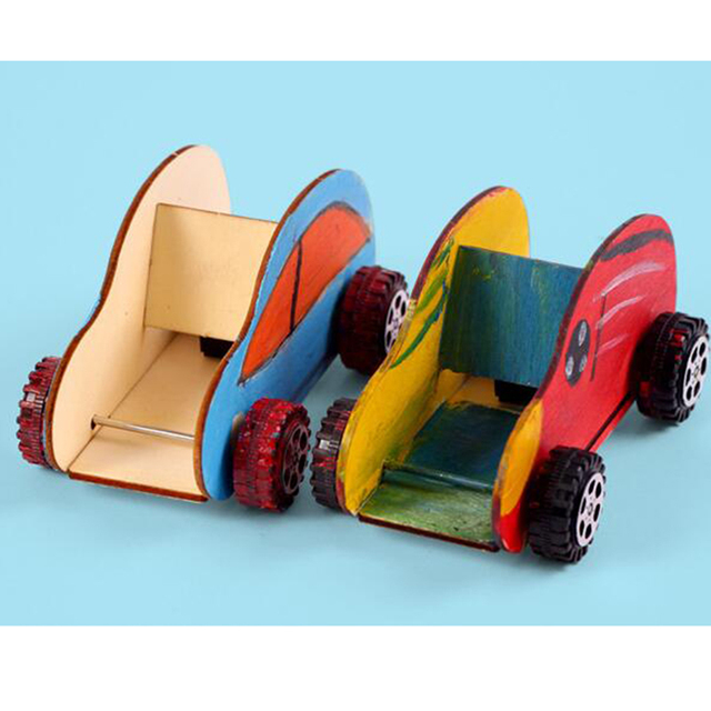 one set creative wooden cartoon car children diy model building kits educational operation interactive games toys
