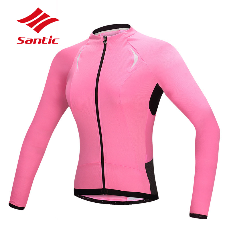 Santic femmes cyclisme maillot manches longues respirant vélo vélo Jersey printemps automne Anti-UV cyclisme vêtements Ropa Ciclismo 2018