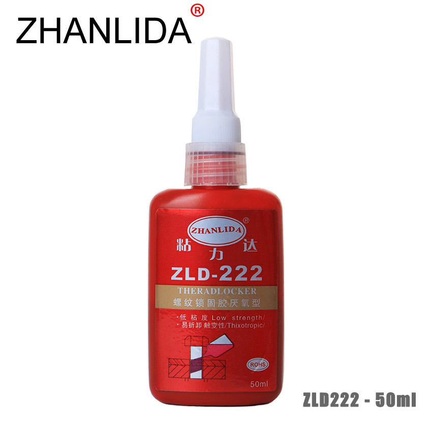 ZHANLIDA 222 50ML Anaerobic Adhesive Metal Screw Lock Screw Glue Thread Seal up Anti Rust Removable Thixotropy Low Strength unity up 222