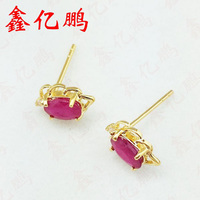 Xin yi peng 18 k yellow gold inlaid natural ruby stud earrings, women earrings, generous