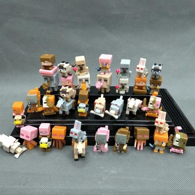 36 pçs/lote Minecraft Minecraft Brinquedos Figuras de Ação Mini Cabide de Personagens Bonito 3D Modelos Figura Jogos Blocos Brinquedos Para As Crianças # E