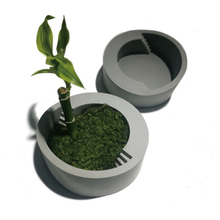 New Flowerpot Silicone Mold Round with Stairs Shape Handmade Concrete Bonsai Cement Vase Mould