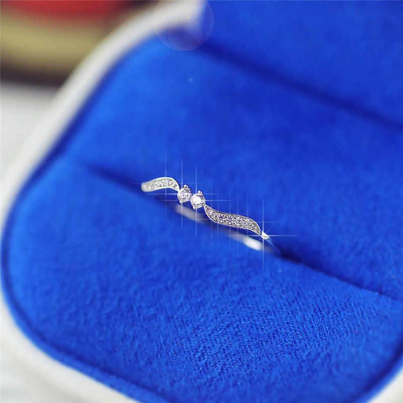 אופנה קטן דק מעוקב Zirconia מבריק מלאך כנפי טבעת קלאסי אופנה טבעות זהב וכסף צבע ולנטיין מתנה רומנטית S3