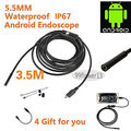 5.5mm Lens USB Endoscope 3.5M 6 LED IP67 Waterproof Camera Endoscope 1M, Mini Camera Mirror As Gift Android OTG Phone Endoscopio