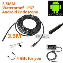 5.5 mm objectif USB Endoscope 3.5 M 6 LED IP67 étanche caméra Endoscope 1 m, Miroir Mini caméra comme cadeau Android OTG téléphone Endoscopio