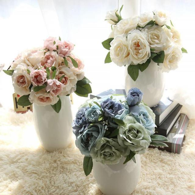 1 Bunch Pretty Artificial Flowers Fake Rose Bouquet Flower Home
