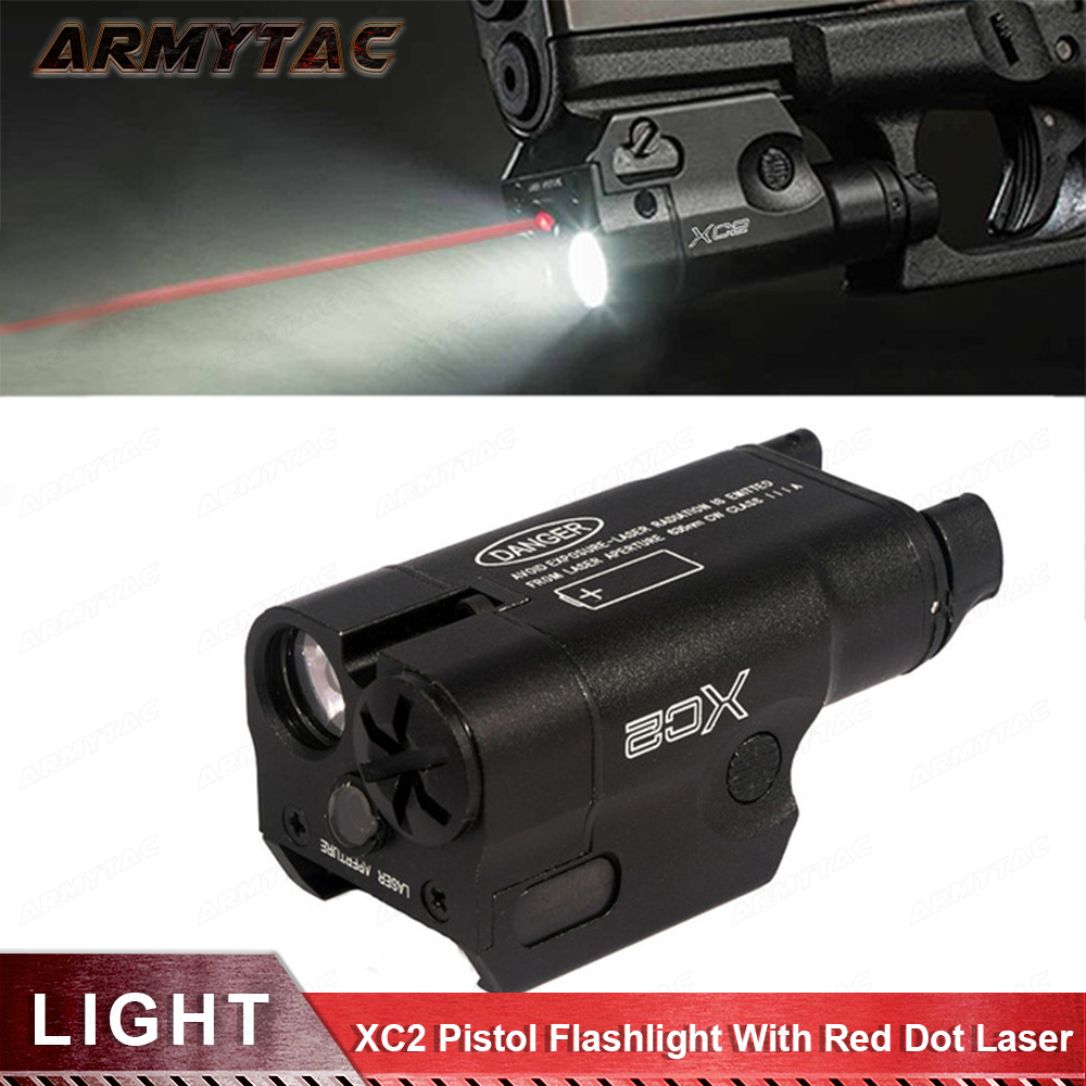 XC2 Laser Light Compact Pistol Flashlight With Red Dot Laser Tactical LED MINI White Light 200 Lumens Airsoft Flashlight цена