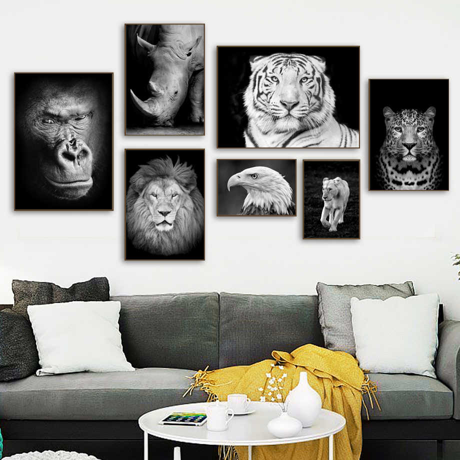 Lion Leopard Tiger Gorilla Eagle Wall Art Canvas Painting Nordic Posters And Print Animal Wall Pictures Scandinavian Home Decor
