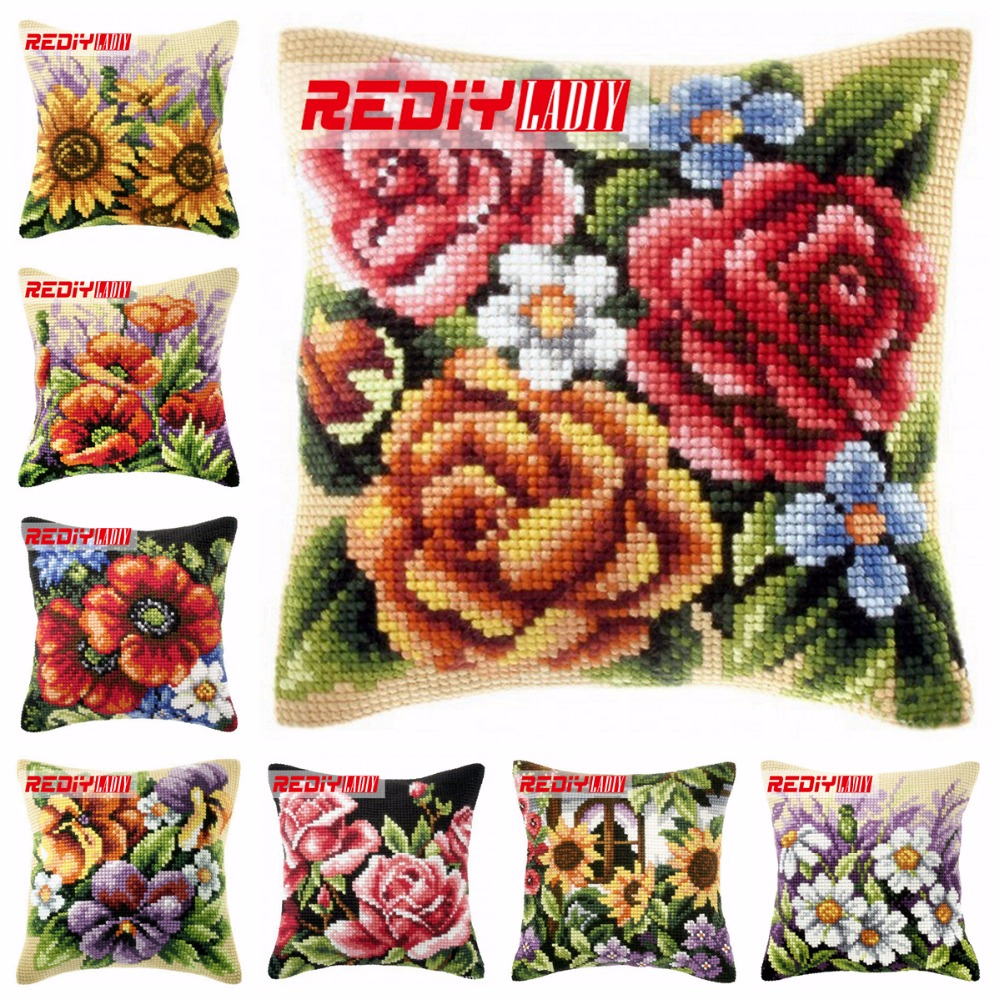 Ladiy Cross Stitch Cushion Cover Yarn For Embroidery Cushions Home