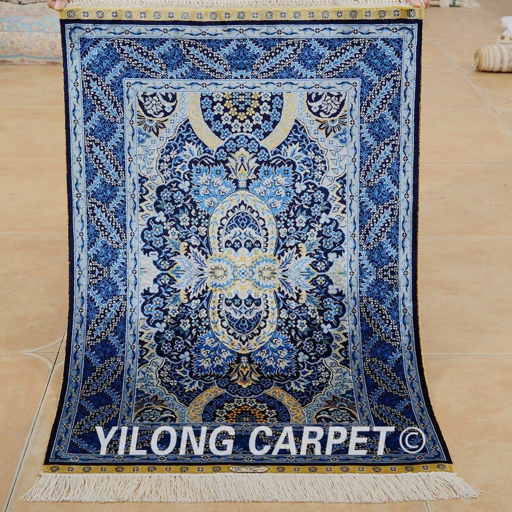 Yilong 2'x3' Oriental Silk Carpet Dark Blue Handmade