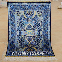 Yilong 2'x3' Oriental silk carpet dark blue handmade exquisite discount persian rugs (1925)