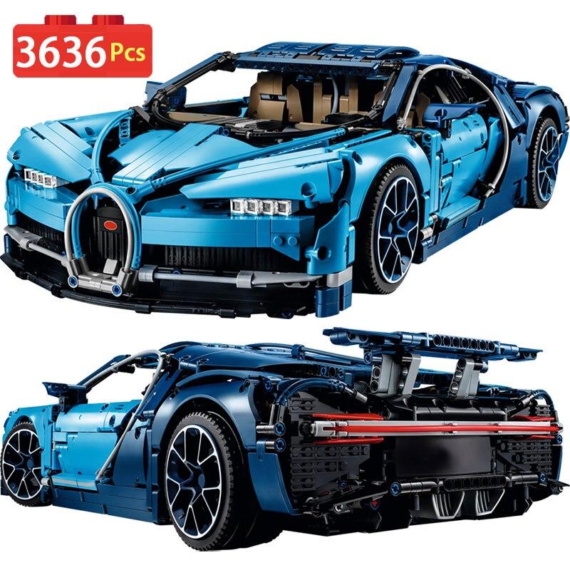 Blocs de construction Compatible avec Legoingly Technique Bugattied Diy TechniK Série Chiron Bleu Voiture De Course Briques Enfant Jouets