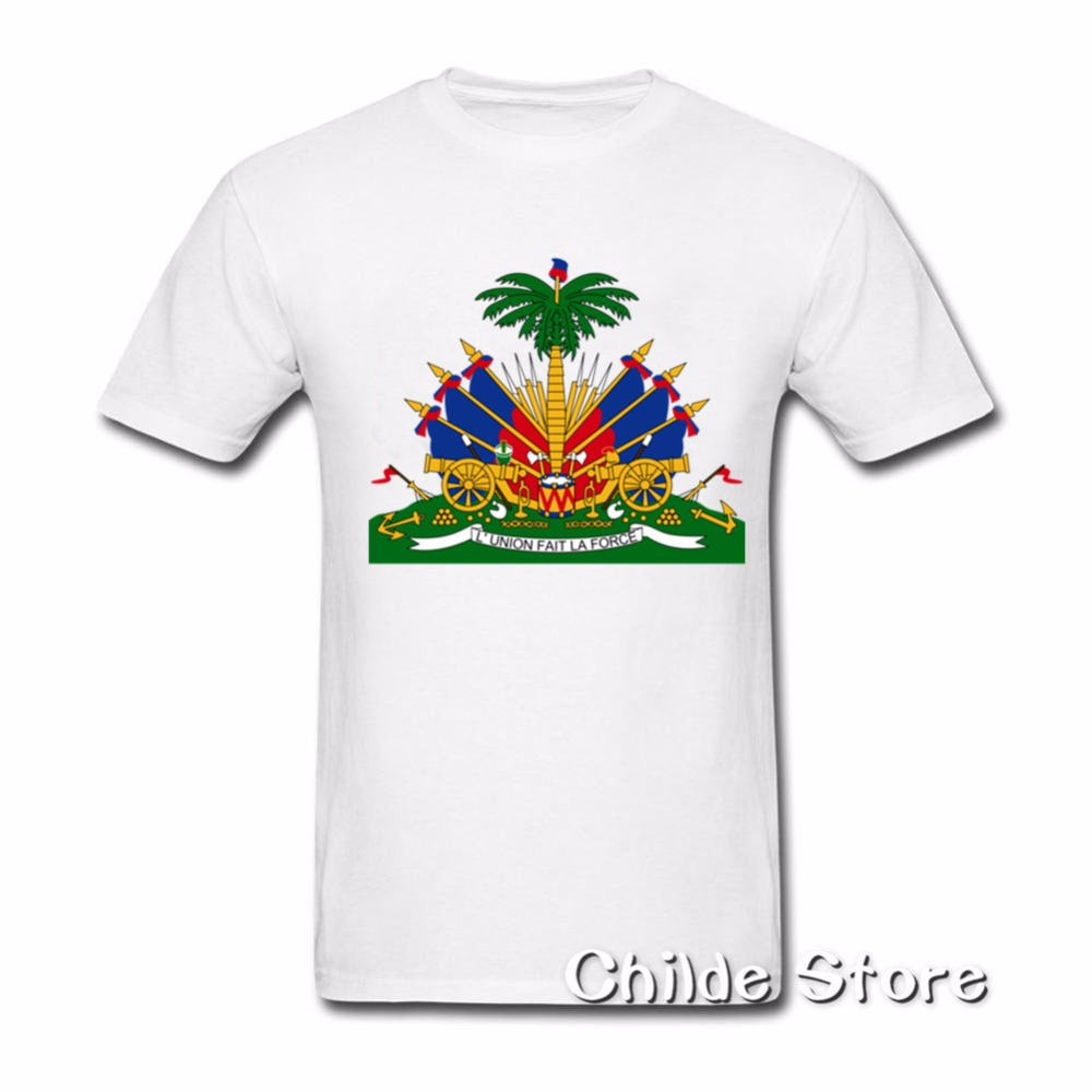 2018 Men T Shirt Tshirt New Summer Funny Tee Crest Haiti Flag Cotton Funny T Shirt Men Tops Best Gift For Friend Crest Haiti