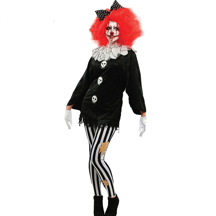 Female Adult Halloween Cosplay Costumes Clown Dress Black Zombie Cosplay Dresses Girl Skull Clown Clothing Suits for Party Wear