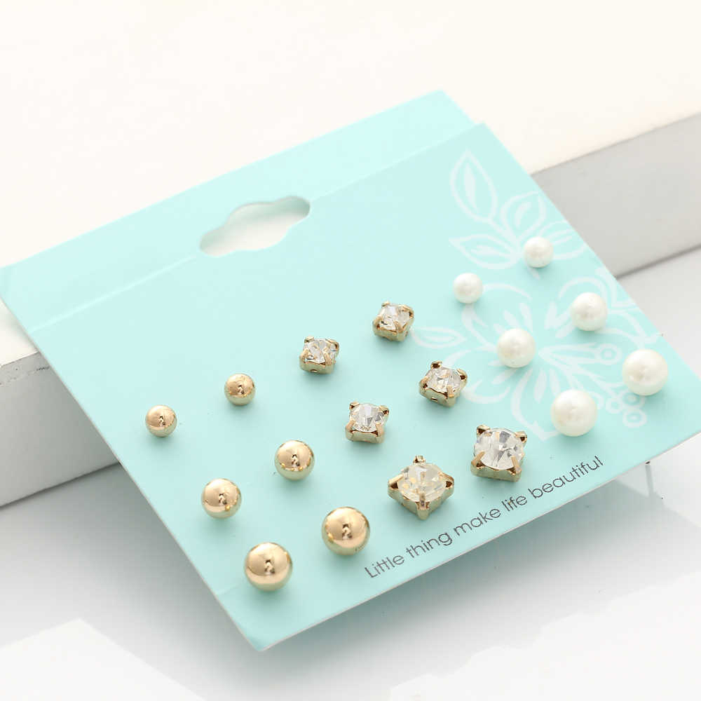 17KM New 9 Pairs/set Crystal Simulated Pearl Stud Earrings Piercing Gold Color Fashion Earrings For Women Bijoux Jewelry Brincos