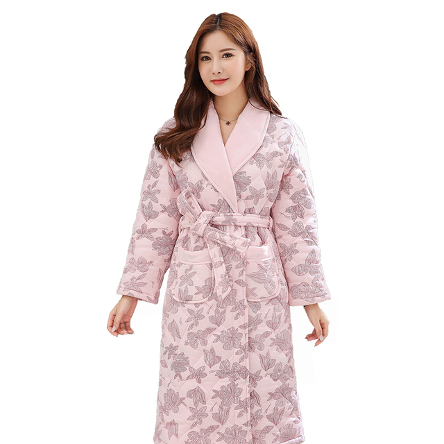 c0697f5122 Women Floral Print Bath Robe 3 Layers Quilted Sleepwear Autumn Winter  Cotton Bathrobe Thicken Warm Female Robe Nightgown M-3XL