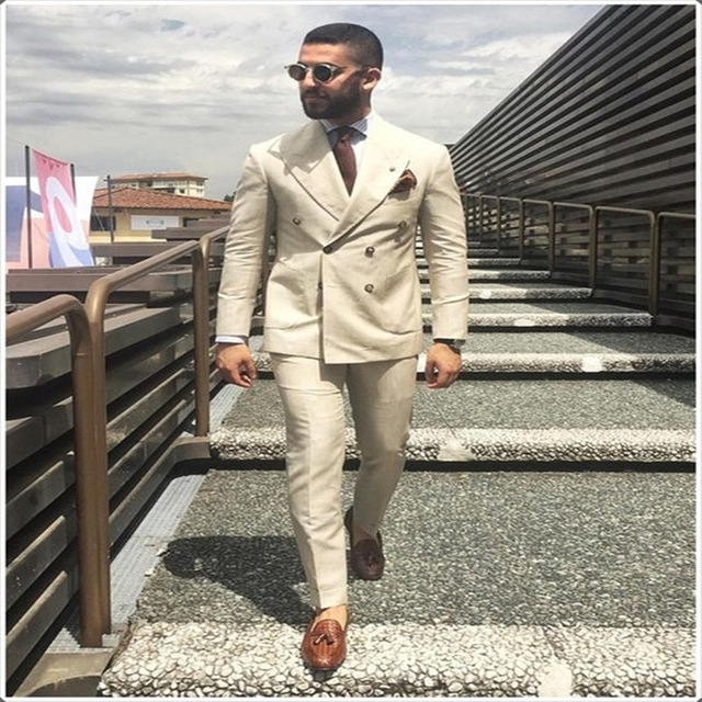 2018 Latest Coat Pant Designs Ivory Beige Double Breasted Men Suit Formal Slim Fit Gentle Blazer Custom 2 Piece mens suits Terno