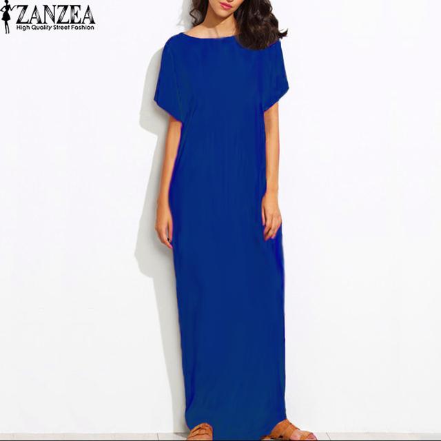 2017 Womens Summer Round Neck Short Sleeves Loose Casual Party Solid Maxi Long Dress Kaftan Vestido S-XL