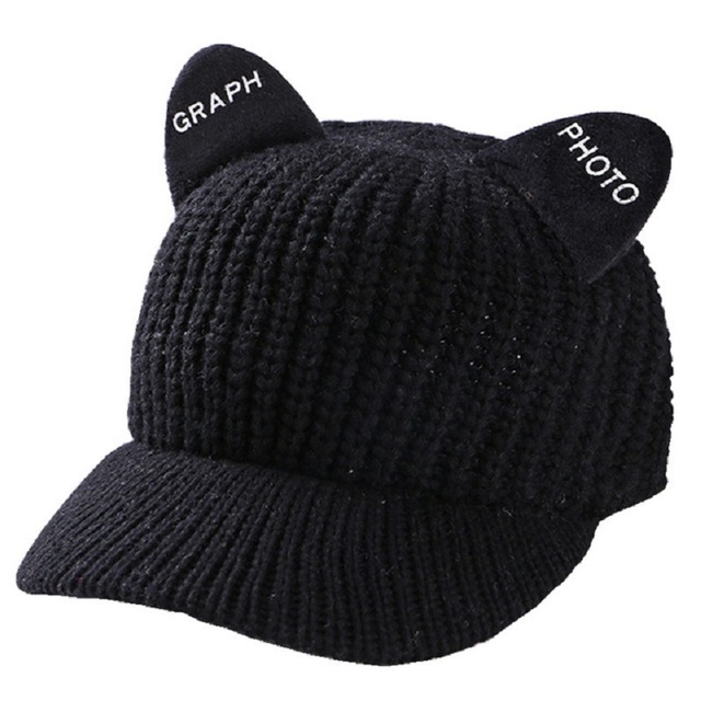 735d2ff9397 Winter Cap With Visor Cat Ears Knit Snapback Hat Women Woolen Knitted  Baseball Caps Hip Hop