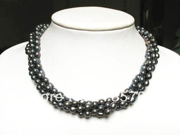 xiuli 00915 lace 3 strands black freshwater pearl rice beads twisted