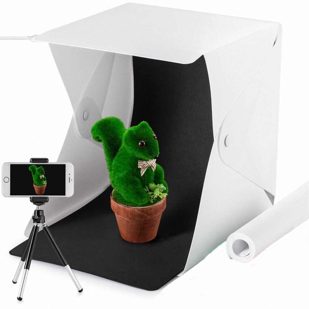 Dimmable Table Top Light Tent with 3 Color Backdrops IhDFR Light Tent 20inch Photo Studio Light Box Portable Photography Shooting Tent with Movable LED Lights