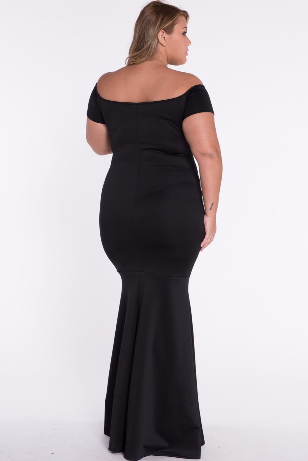 Black-Plus-Size-Off-Shoulder-Fishtail-Maxi-Dress-LC60884-5