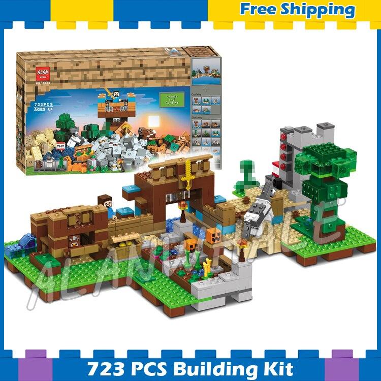 723 pcs Mon Monde La Boîte De Construction 2.0 Maison Mine Désert 10733 Modèle Blocs De Construction Jouets Briques Compatibles Lego minecrafted
