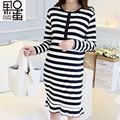 2017 New Maternity Dress Spring and Summer Black and White Striped Dress Breast Dress Long Sleeves In The Long Section