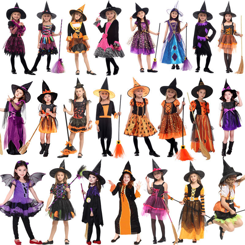 2019 New Witch Suit Cosplay Halloween Party Children Costume For Girls Halloween Clothing Set Witch Dress Hat cloak Accessories