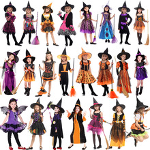 2019 New Witch Suit Cosplay Halloween Party Children Costume For Girls Halloween Clothing Set Witch Dress Hat cloak Accessories цена