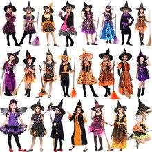 2019 nowy kostium czarownicy Cosplay impreza z okazji Halloween kostium dla dzieci dla dziewczynek Halloween odzież zestaw sukienka czarownicy kapelusz płaszcz akcesoria