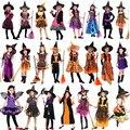 Новинка 2019 года; костюм колдуньи для косплея; вечерние костюмы на Хэллоуин для девочек; комплект одежды на Хэллоуин; платье ведьмы; шляпа; накидка; аксессуары - фото