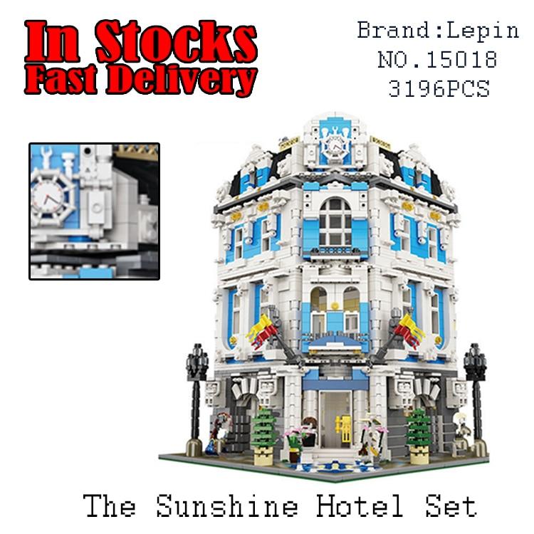 3196PCS LEPIN 15018 The Sunshine Hotel Modular Street MOC Building Bricks Blocks educational Toys For Children gifts brinquedos