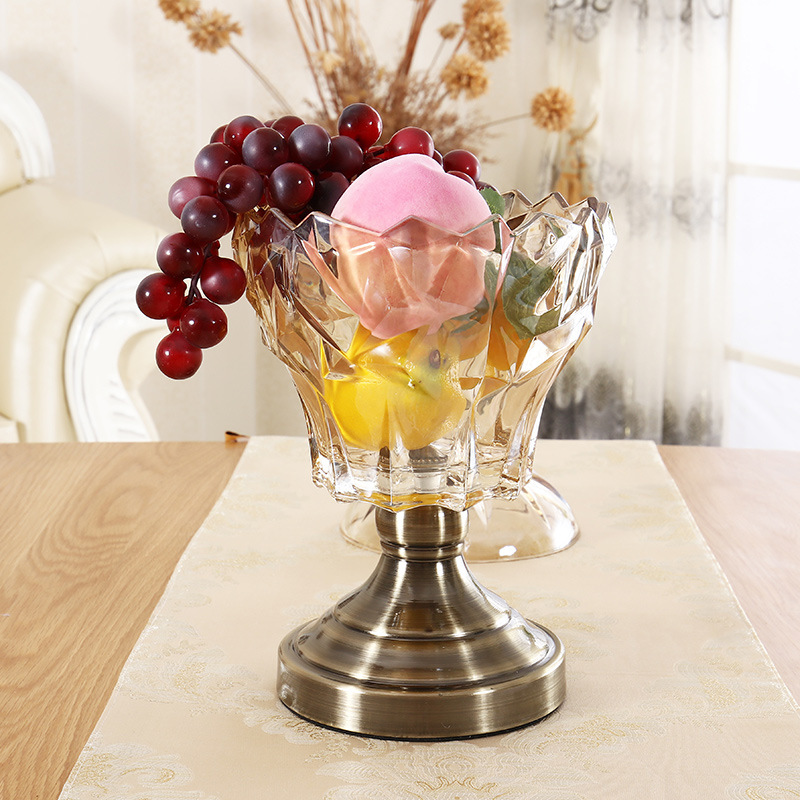 VODOF haute qualité cristal verre coupe de fruits bonbons cacahuète bouteille Vase Table de mariage déco Bronze petit Vase maison pot décoratif