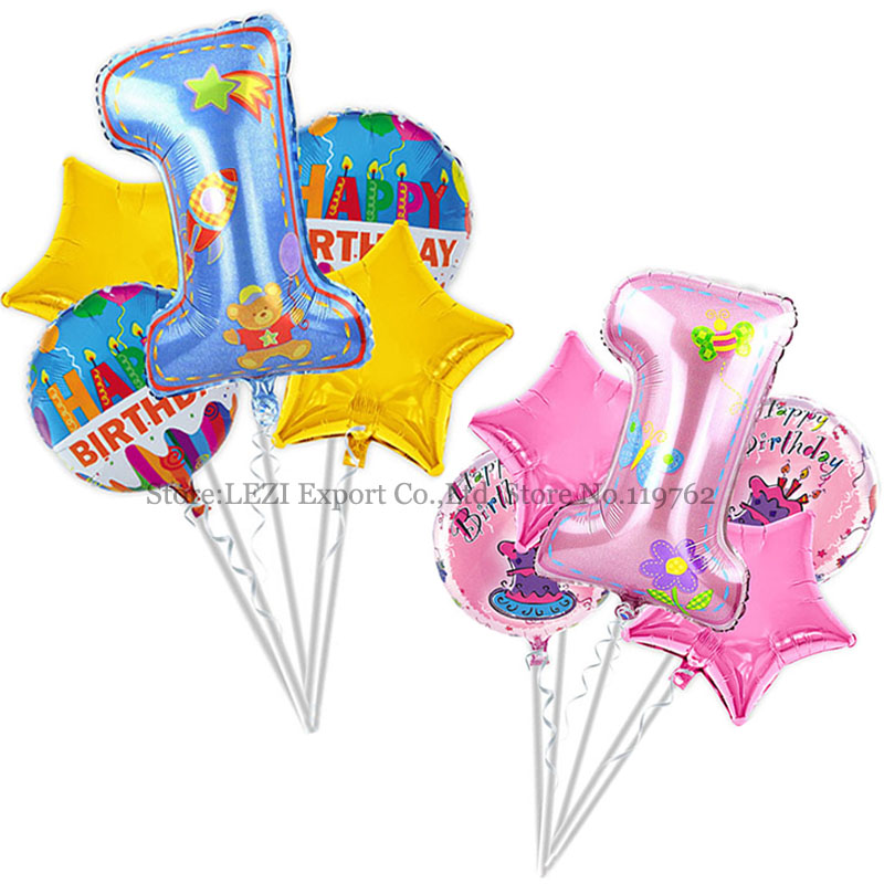 5 PCS/set Baby birthday balloons birthday theme party decoration Combination sui