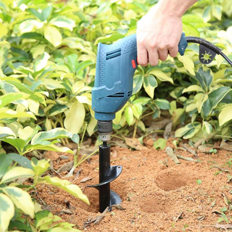 NEW Garden Auger Spiral Drill Bit Roto Flower Planter Bulb Shaft Drill Auger Yard Gardening Bedding Planting Hole Digger Tool