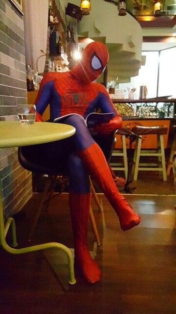 Custom made Halloween adult marvel lycra Amazing Spiderman Costume Cosplay mask lens 3D Printing