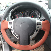 Black Genuine Leather Brown Suede Hand Stitched Car Steering Wheel Cover For Nissan QASHQAI X Trail